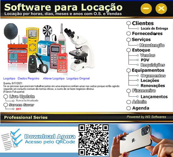 Software Locação de Equipamentos de segurança medição laboratórios