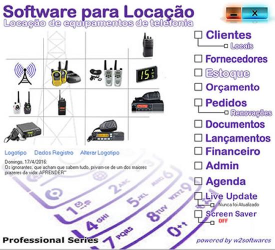 Software Locação de Equipamentos de Telefonia e Equipamentos de Comunicação